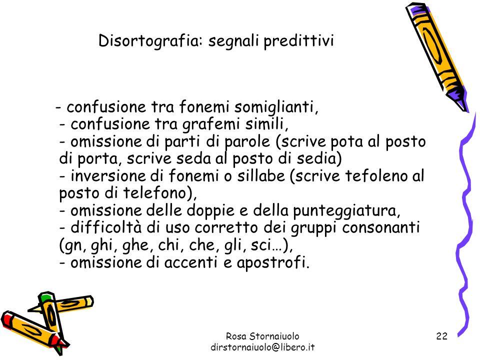 Rosa Stornaiuolo dirstornaiuolo@libero.it 22 Disortografia: segnali predittivi - confusione tra fonemi somiglianti, - confusione tra grafemi simili, -