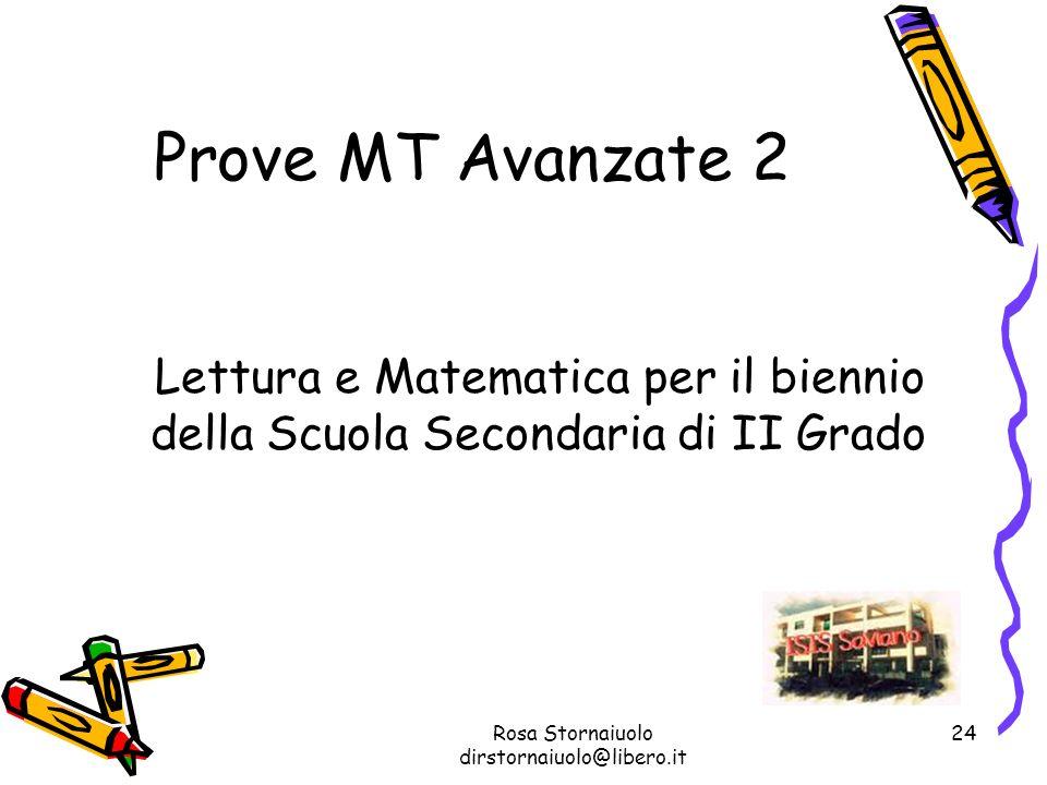 Rosa Stornaiuolo dirstornaiuolo@libero.it 24 Prove MT Avanzate 2 Lettura e Matematica per il biennio della Scuola Secondaria di II Grado