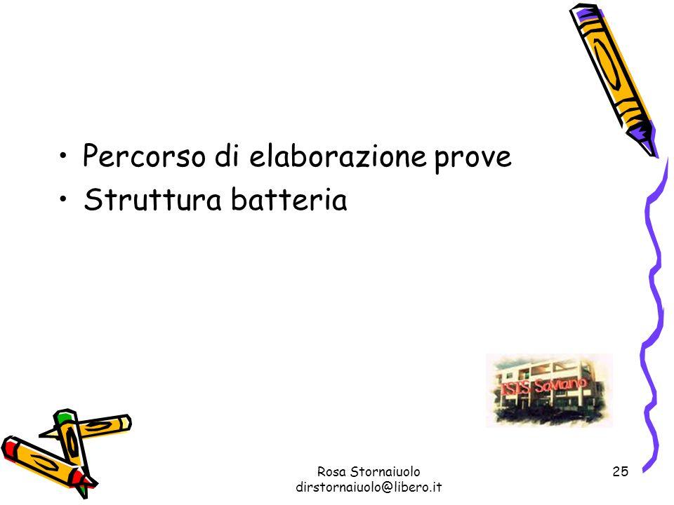 Rosa Stornaiuolo dirstornaiuolo@libero.it 25 Percorso di elaborazione prove Struttura batteria
