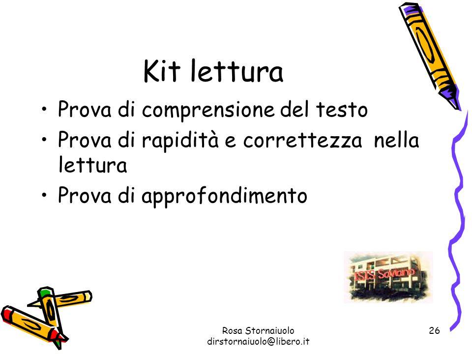 Rosa Stornaiuolo dirstornaiuolo@libero.it 26 Kit lettura Prova di comprensione del testo Prova di rapidità e correttezza nella lettura Prova di approf