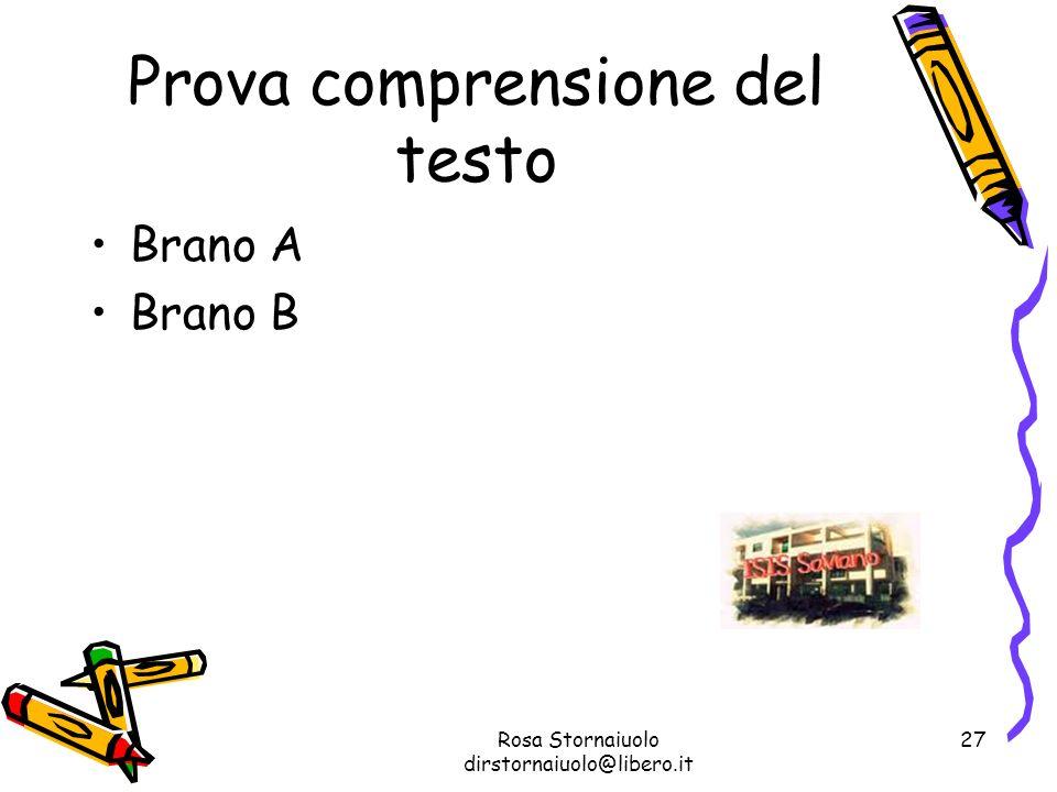 Rosa Stornaiuolo dirstornaiuolo@libero.it 27 Prova comprensione del testo Brano A Brano B