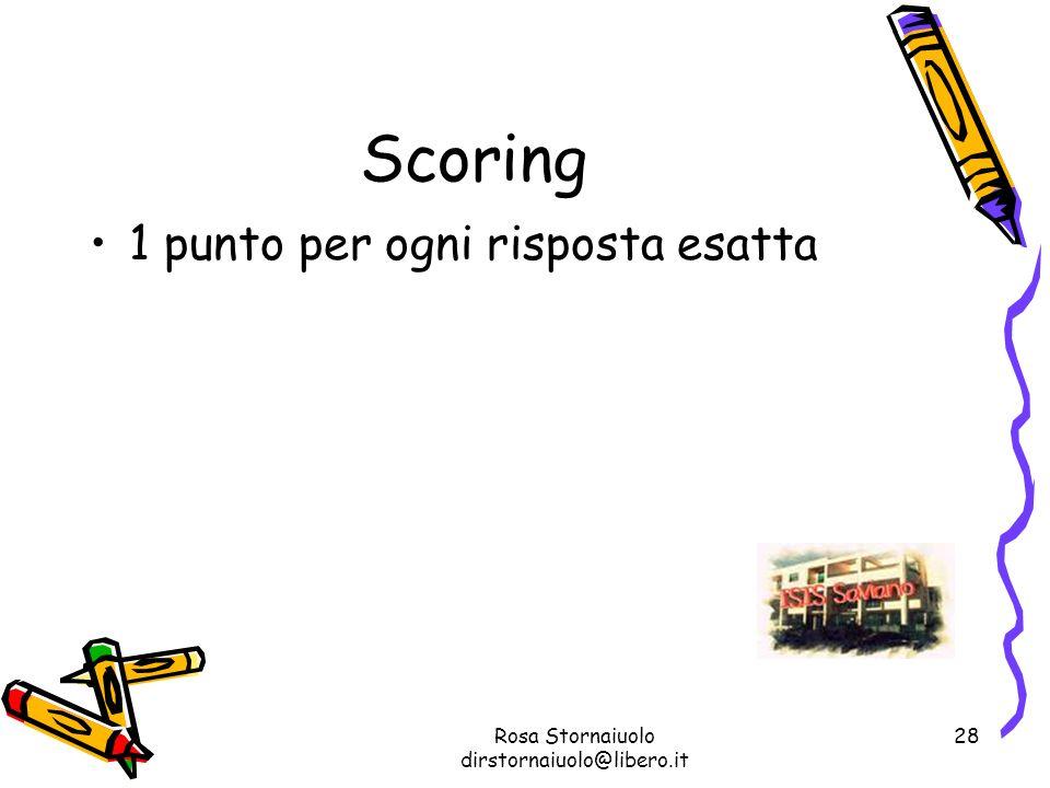 Rosa Stornaiuolo dirstornaiuolo@libero.it 28 Scoring 1 punto per ogni risposta esatta