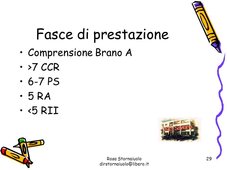 Rosa Stornaiuolo dirstornaiuolo@libero.it 29 Fasce di prestazione Comprensione Brano A >7 CCR 6-7 PS 5 RA <5 RII