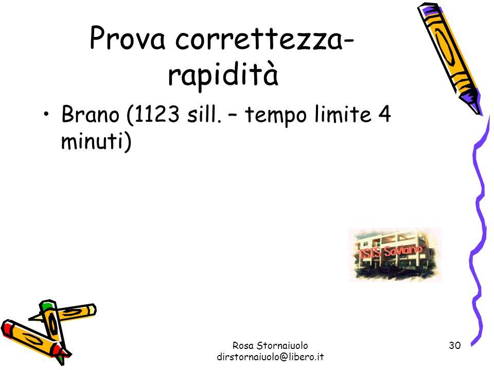 Rosa Stornaiuolo dirstornaiuolo@libero.it 30 Prova correttezza- rapidità Brano (1123 sill. – tempo limite 4 minuti)