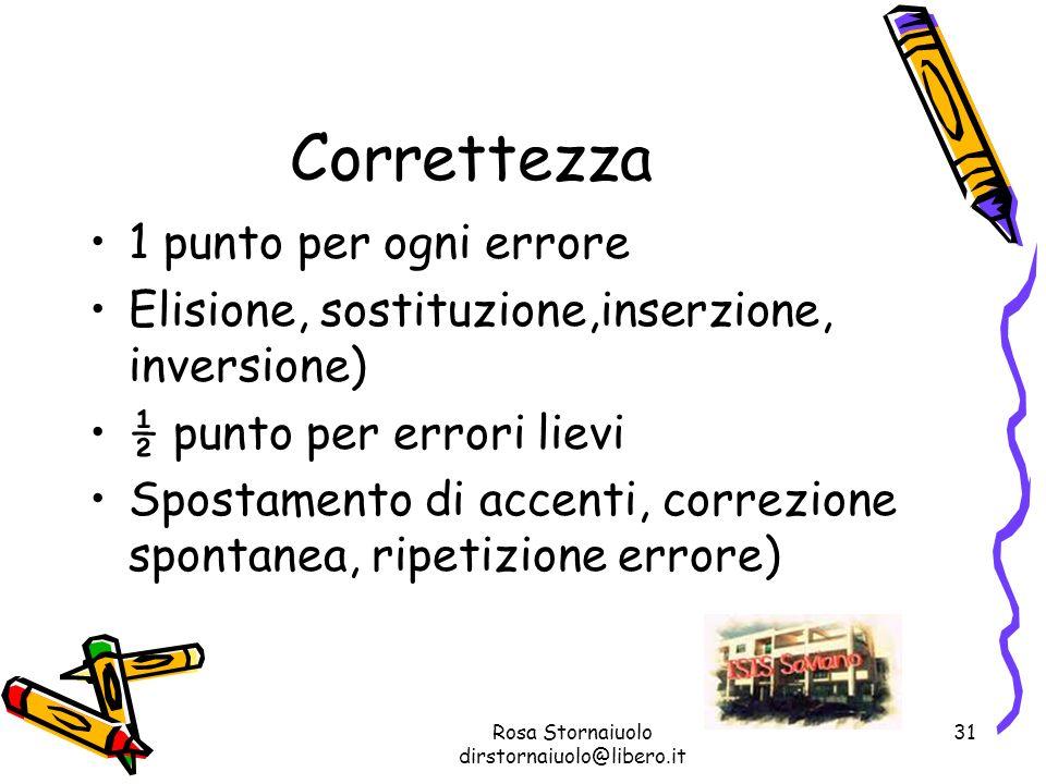 Rosa Stornaiuolo dirstornaiuolo@libero.it 31 Correttezza 1 punto per ogni errore Elisione, sostituzione,inserzione, inversione) ½ punto per errori lie