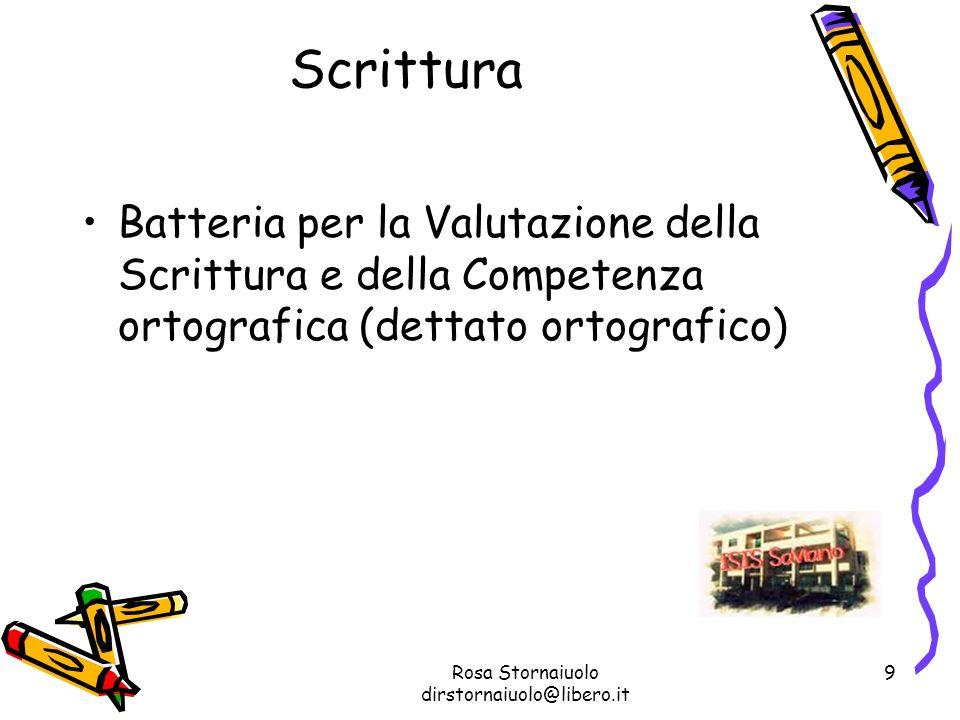 Rosa Stornaiuolo dirstornaiuolo@libero.it 9 Scrittura Batteria per la Valutazione della Scrittura e della Competenza ortografica (dettato ortografico)