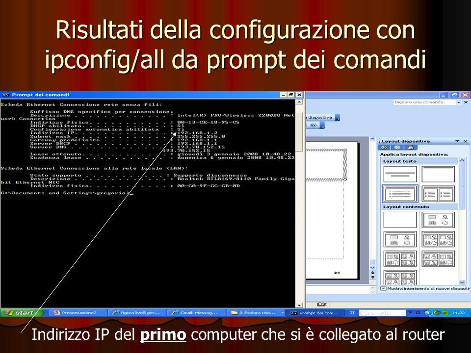 Risultati della configurazione con ipconfig/all da prompt dei comandi Indirizzo IP del primo computer che si è collegato al router