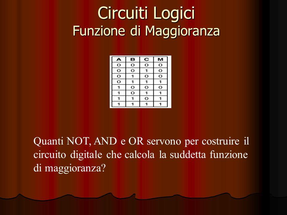 Circuiti Logici Funzione di Maggioranza Quanti NOT, AND e OR servono per costruire il circuito digitale che calcola la suddetta funzione di maggioranza