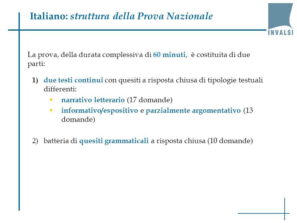 Italiano: struttura della Prova Nazionale 1) due testi continui con quesiti a risposta chiusa di tipologie testuali differenti: narrativo letterario (