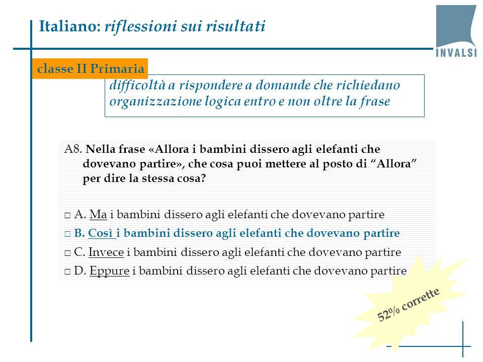 Italiano: riflessioni sui risultati difficoltà a rispondere a domande che richiedano organizzazione logica entro e non oltre la frase A8. Nella frase