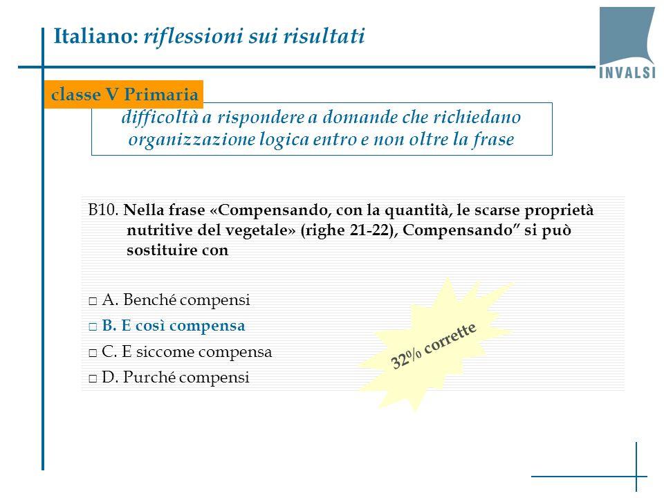 Italiano: riflessioni sui risultati difficoltà a rispondere a domande che richiedano organizzazione logica entro e non oltre la frase B10. Nella frase