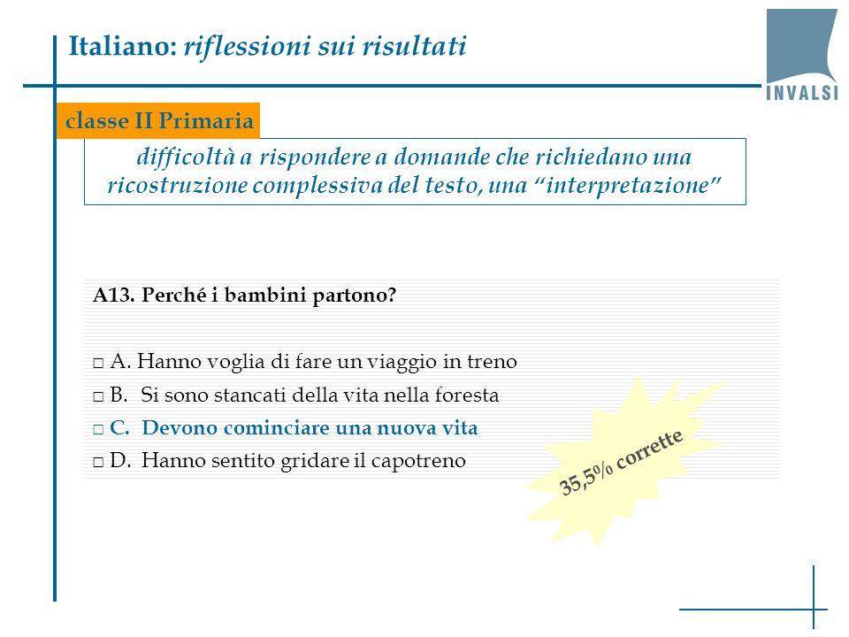 Italiano: riflessioni sui risultati difficoltà a rispondere a domande che richiedano una ricostruzione complessiva del testo, una interpretazione classe II Primaria A13.Perché i bambini partono.