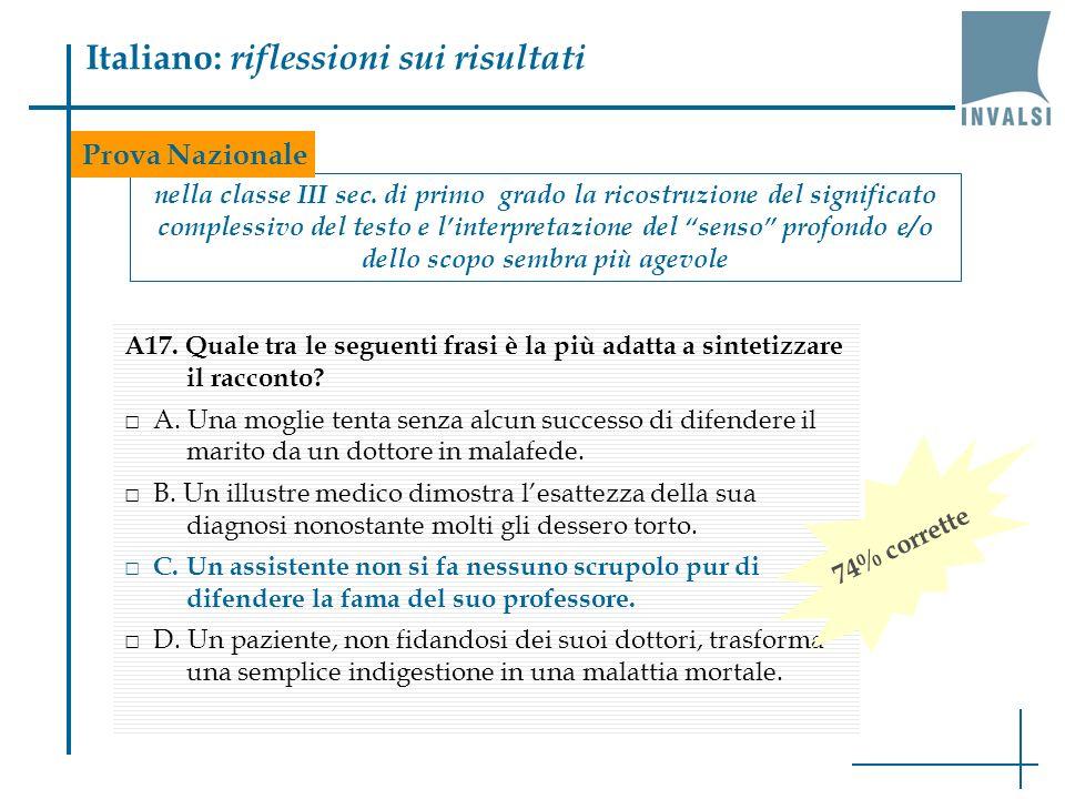 Italiano: riflessioni sui risultati nella classe III sec. di primo grado la ricostruzione del significato complessivo del testo e linterpretazione del