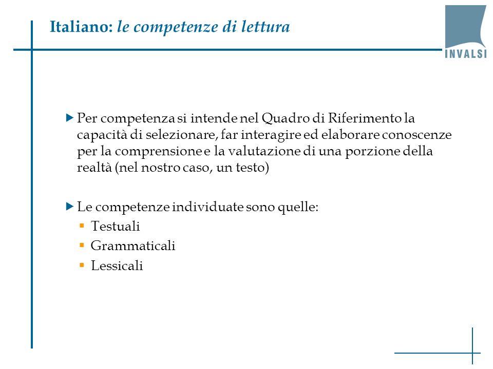 Italiano: le competenze di lettura Per competenza si intende nel Quadro di Riferimento la capacità di selezionare, far interagire ed elaborare conosce
