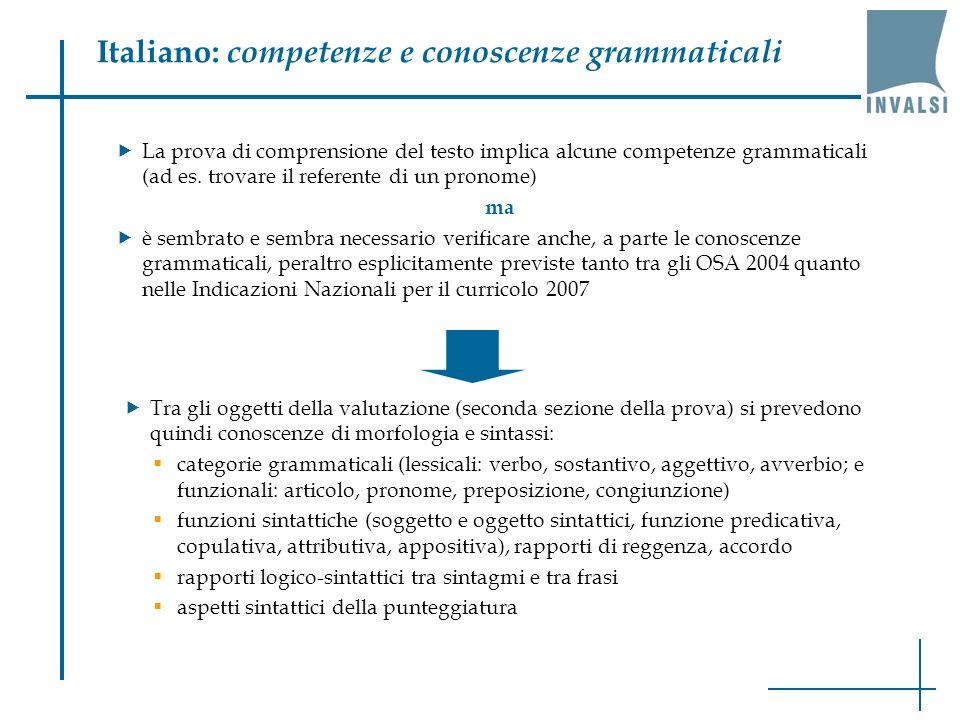 Italiano: competenze e conoscenze grammaticali La prova di comprensione del testo implica alcune competenze grammaticali (ad es. trovare il referente