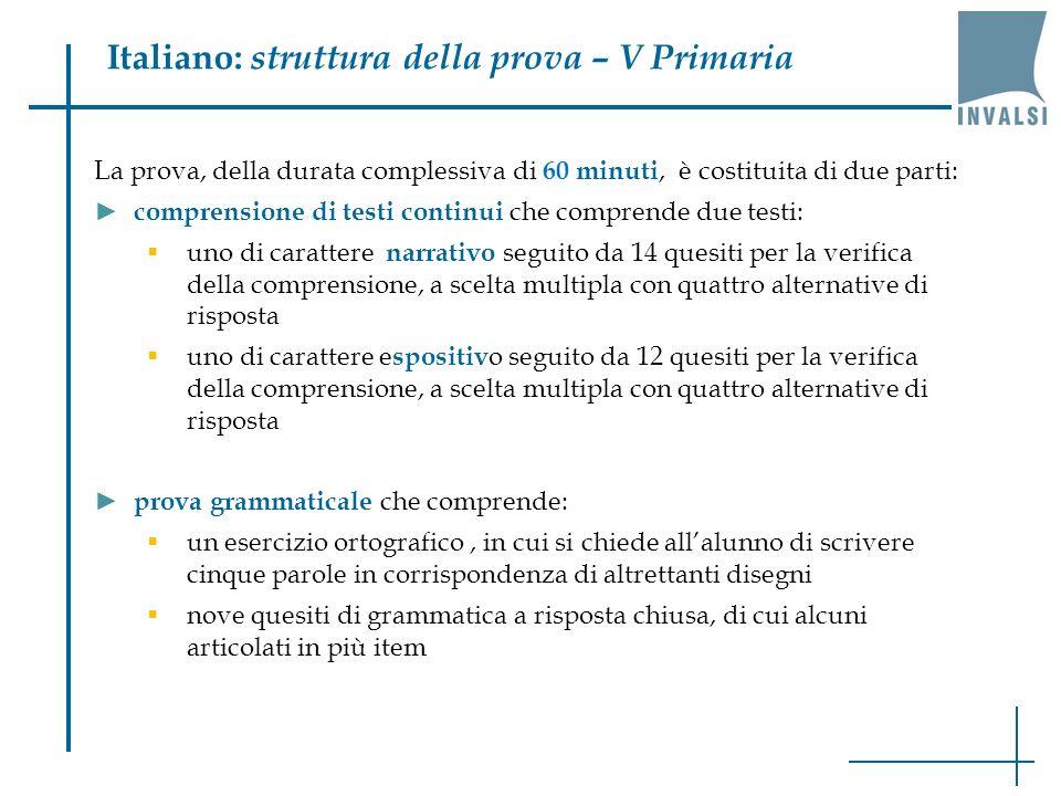 Italiano: struttura della prova – V Primaria La prova, della durata complessiva di 60 minuti, è costituita di due parti: comprensione di testi continu
