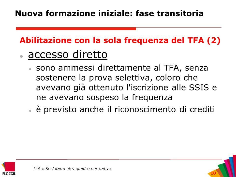 TFA e Reclutamento: quadro normativo 10 Nuova formazione iniziale: fase transitoria Abilitazione con la sola frequenza del TFA (2) accesso diretto son
