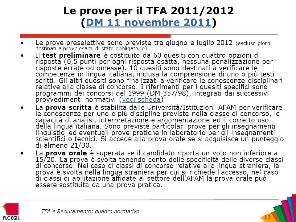 TFA e Reclutamento: quadro normativo 13 Le prove per il TFA 2011/2012 (DM 11 novembre 2011)DM 11 novembre 2011 Le prove preselettive sono previste tra