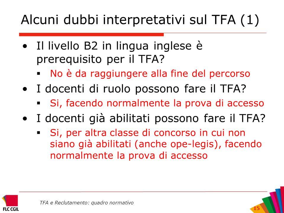 TFA e Reclutamento: quadro normativo 15 Alcuni dubbi interpretativi sul TFA (1) Il livello B2 in lingua inglese è prerequisito per il TFA? No è da rag