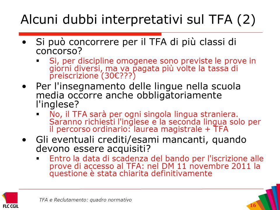 TFA e Reclutamento: quadro normativo 16 Alcuni dubbi interpretativi sul TFA (2) Si può concorrere per il TFA di più classi di concorso? Si, per discip