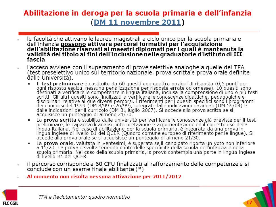 TFA e Reclutamento: quadro normativo 17 Abilitazione in deroga per la scuola primaria e dellinfanzia (DM 11 novembre 2011)DM 11 novembre 2011 le facol