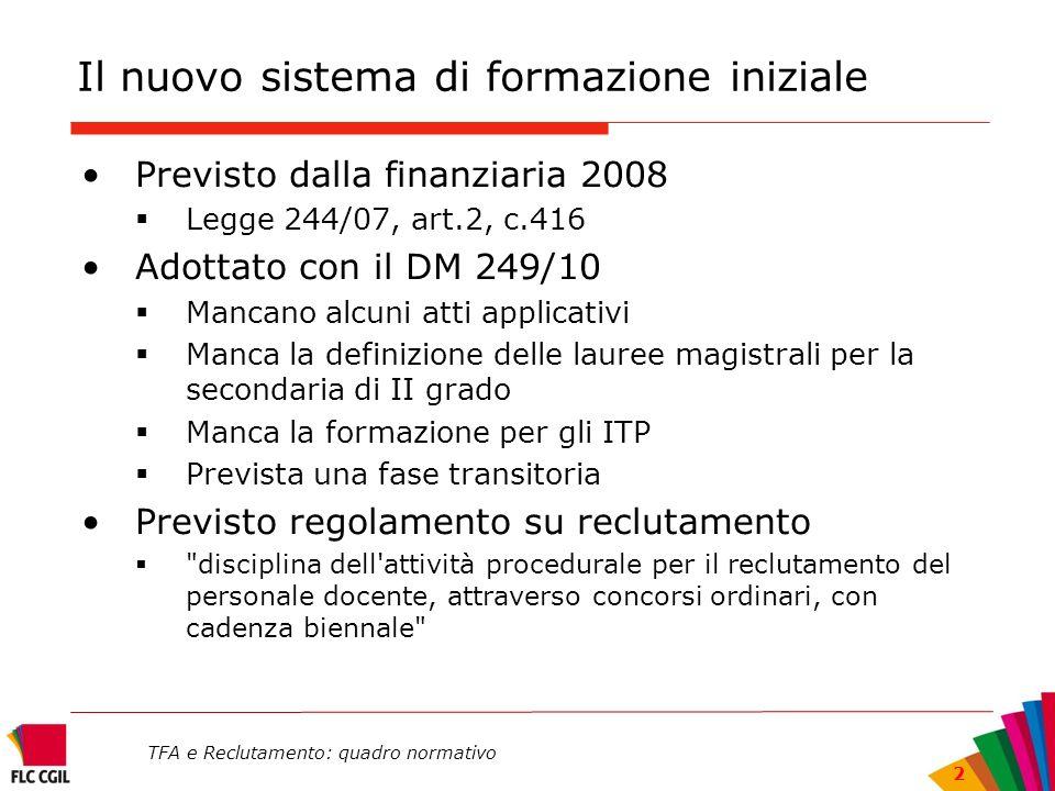 TFA e Reclutamento: quadro normativo 2 Il nuovo sistema di formazione iniziale Previsto dalla finanziaria 2008 Legge 244/07, art.2, c.416 Adottato con