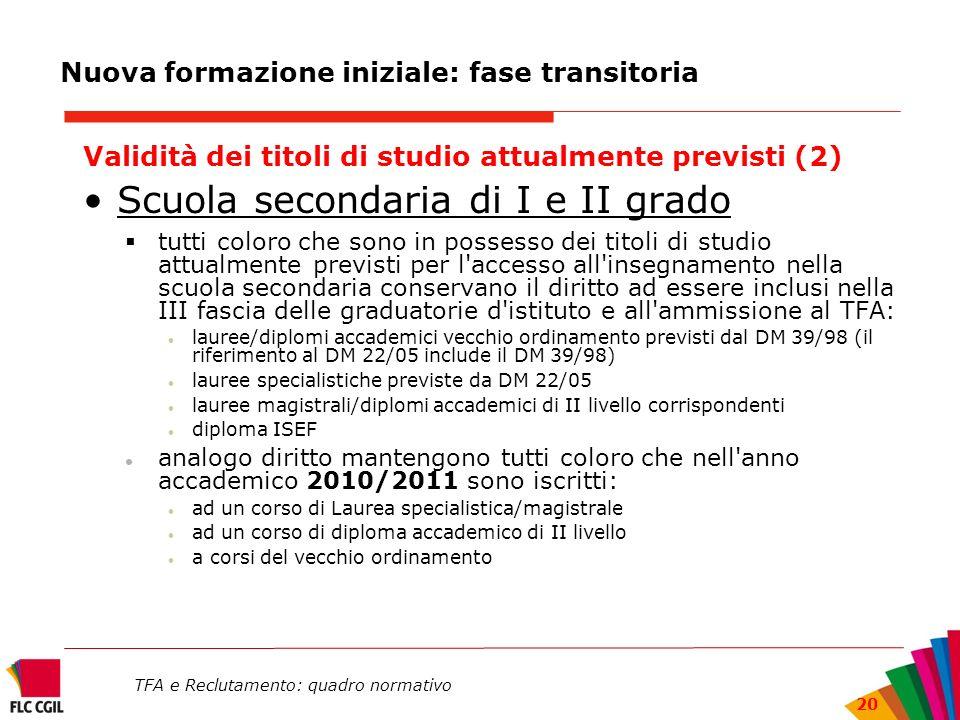 TFA e Reclutamento: quadro normativo 20 Nuova formazione iniziale: fase transitoria Validità dei titoli di studio attualmente previsti (2) Scuola seco