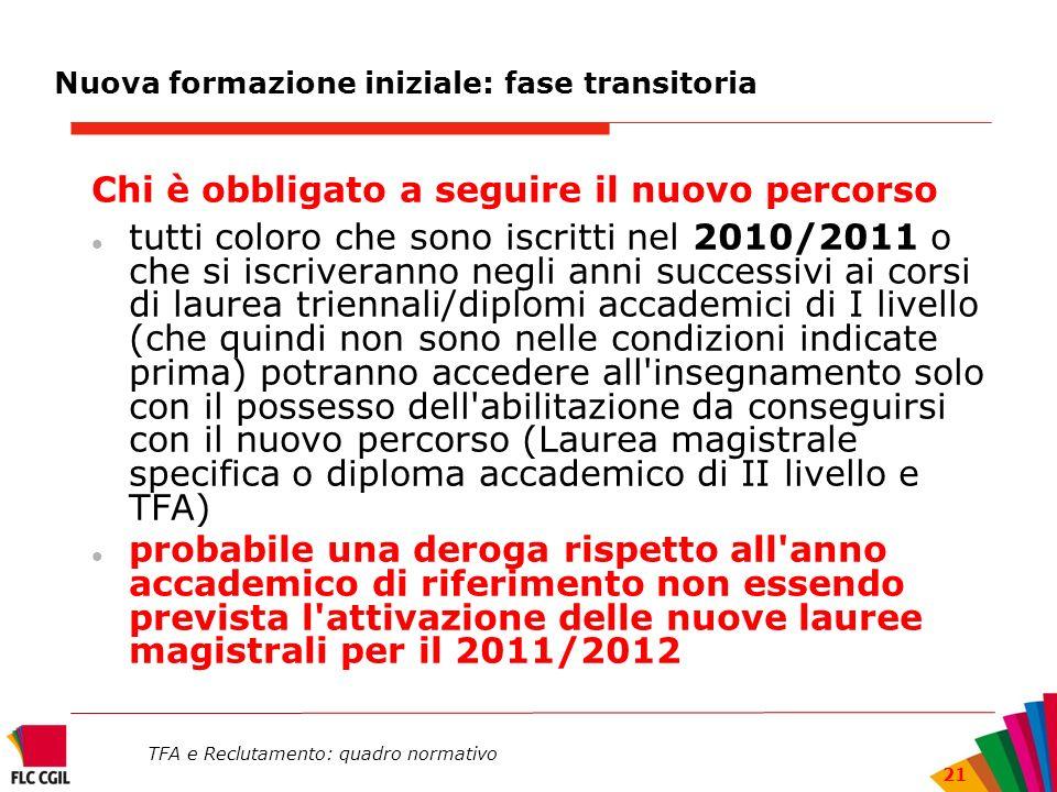 TFA e Reclutamento: quadro normativo 21 Nuova formazione iniziale: fase transitoria Chi è obbligato a seguire il nuovo percorso tutti coloro che sono