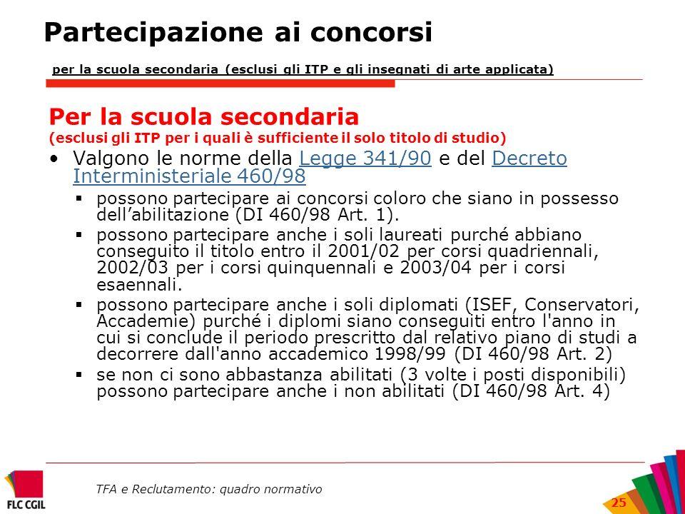 TFA e Reclutamento: quadro normativo 25 Partecipazione ai concorsi per la scuola secondaria (esclusi gli ITP e gli insegnati di arte applicata) Per la