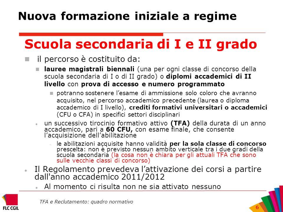 TFA e Reclutamento: quadro normativo 6 Nuova formazione iniziale a regime Scuola secondaria di I e II grado il percorso è costituito da: lauree magist
