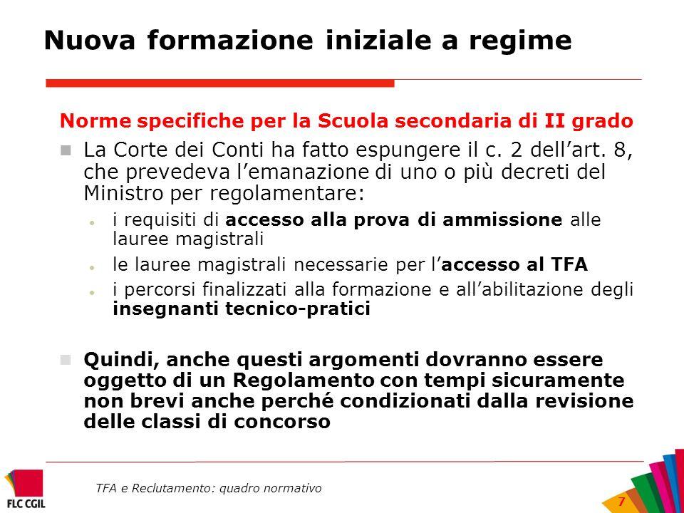 TFA e Reclutamento: quadro normativo 7 Nuova formazione iniziale a regime Norme specifiche per la Scuola secondaria di II grado La Corte dei Conti ha