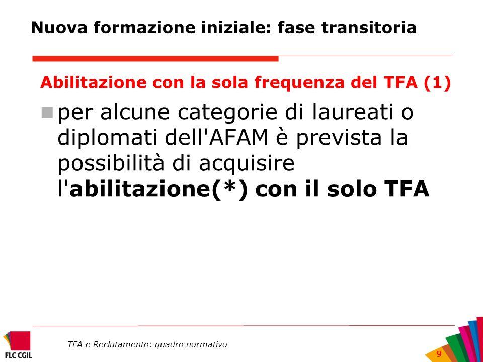 TFA e Reclutamento: quadro normativo 9 Nuova formazione iniziale: fase transitoria Abilitazione con la sola frequenza del TFA (1) per alcune categorie
