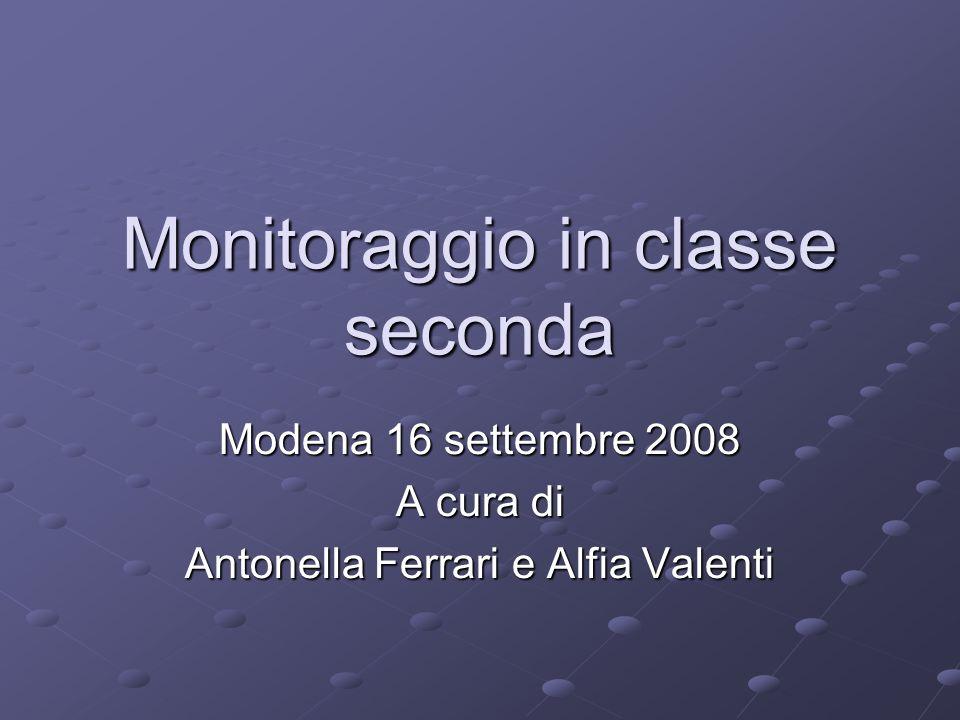 Monitoraggio in classe seconda Modena 16 settembre 2008 A cura di Antonella Ferrari e Alfia Valenti