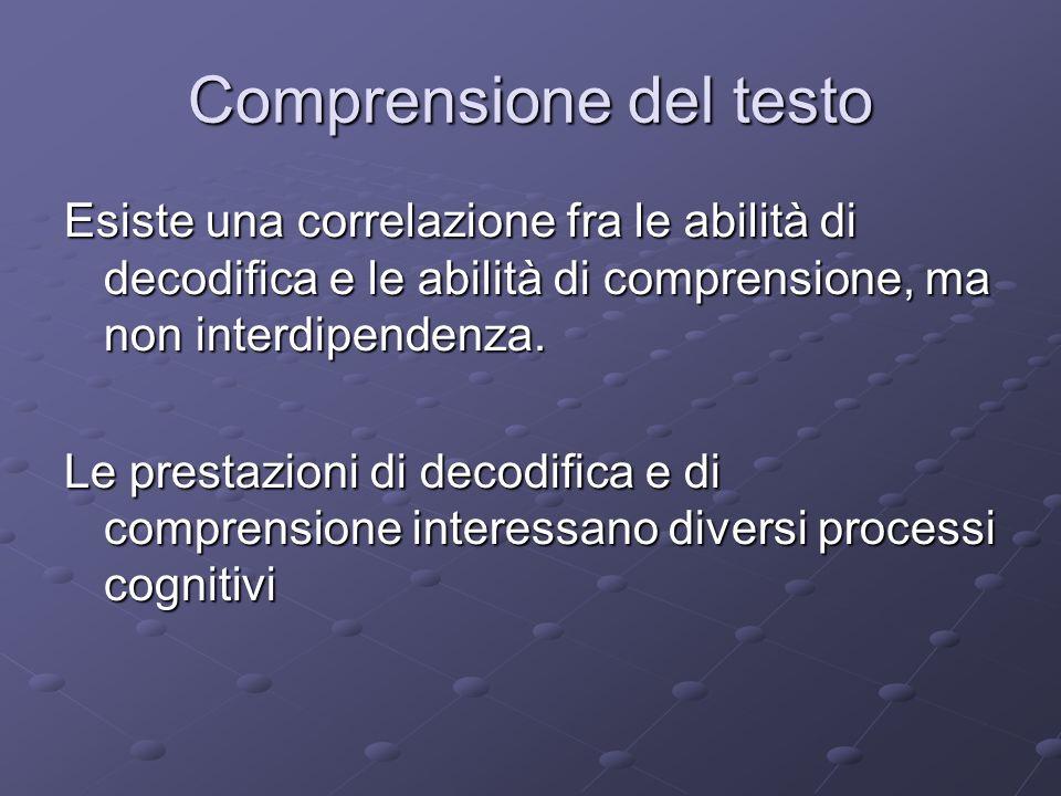 Comprensione del testo Esiste una correlazione fra le abilità di decodifica e le abilità di comprensione, ma non interdipendenza. Le prestazioni di de
