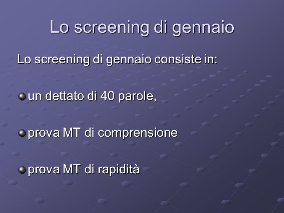 Lo screening di gennaio Lo screening di gennaio consiste in: un dettato di 40 parole, prova MT di comprensione prova MT di rapidità