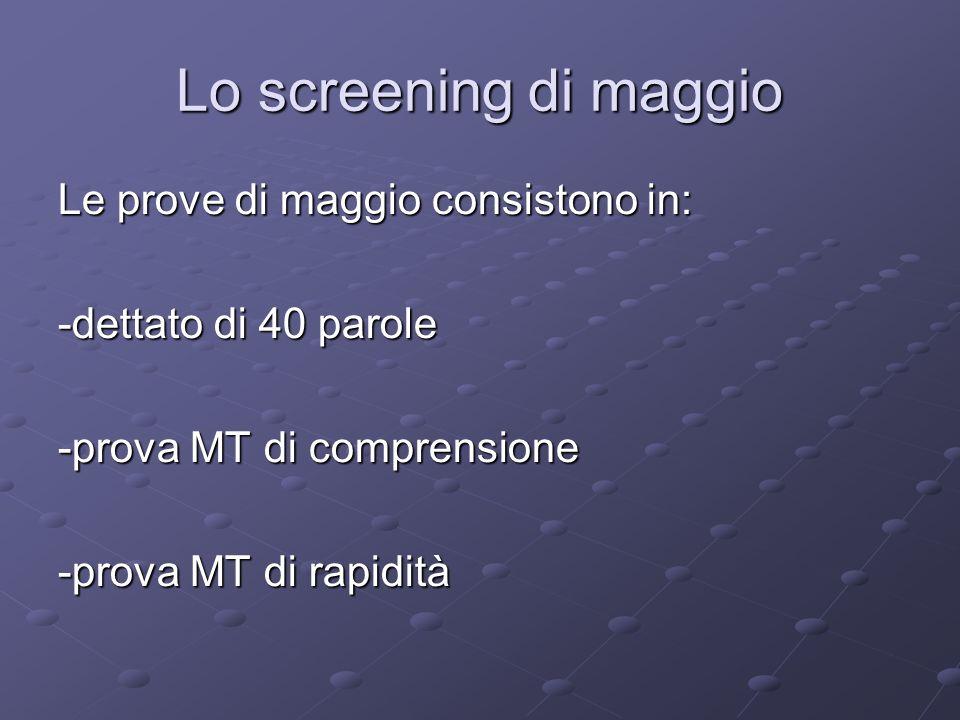 Lo screening di maggio Le prove di maggio consistono in: -dettato di 40 parole -prova MT di comprensione -prova MT di rapidità