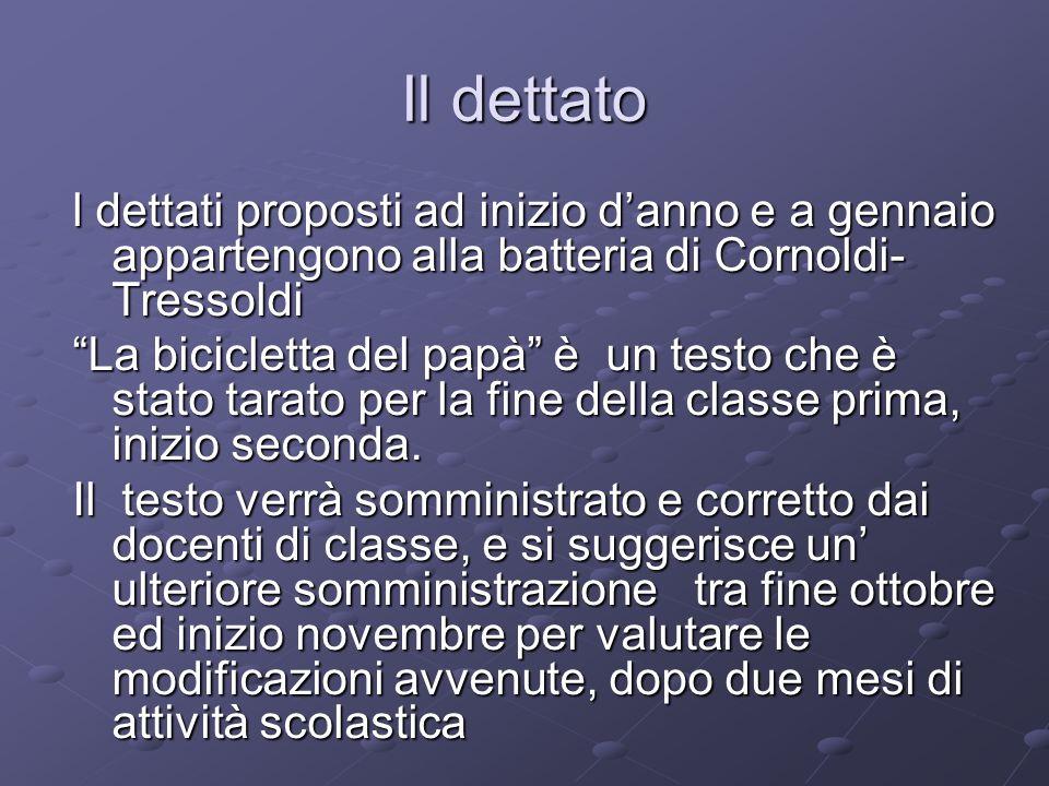 Il dettato l dettati proposti ad inizio danno e a gennaio appartengono alla batteria di Cornoldi- Tressoldi La bicicletta del papà è un testo che è st