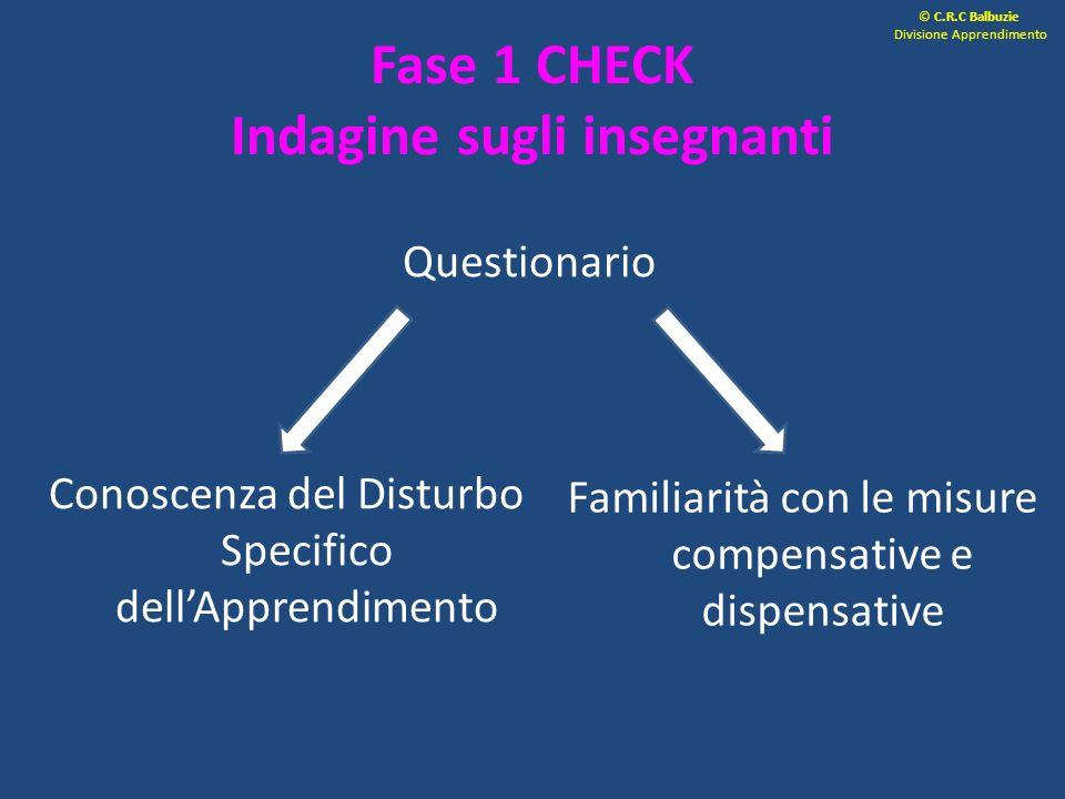 Questionario Conoscenza del Disturbo Specifico dellApprendimento Familiarità con le misure compensative e dispensative Fase 1 CHECK Indagine sugli ins