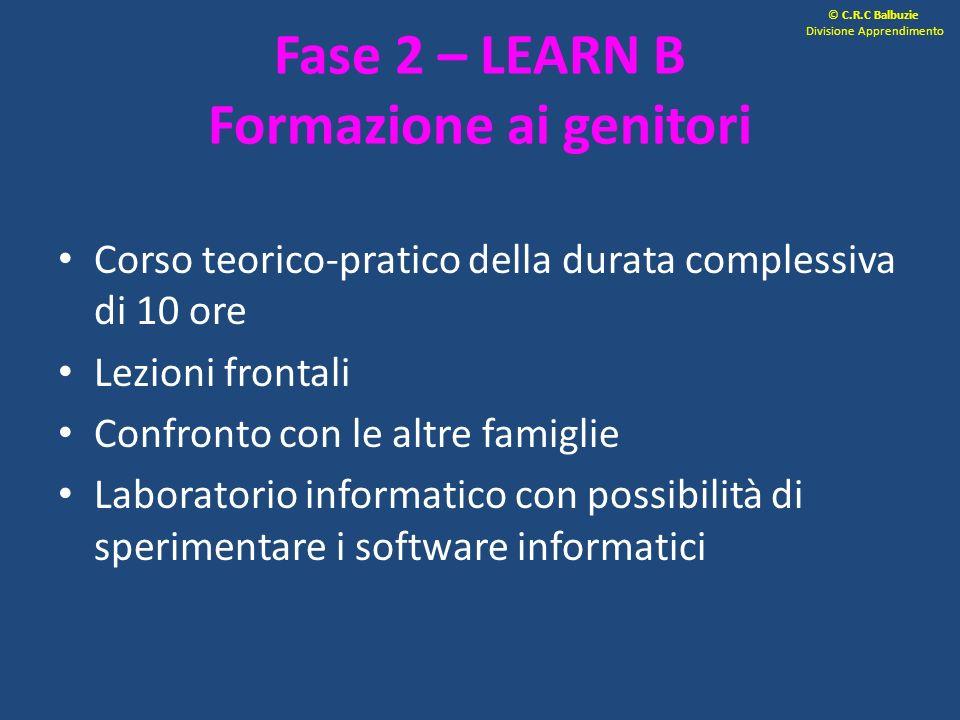Fase 2 – LEARN B Formazione ai genitori Corso teorico-pratico della durata complessiva di 10 ore Lezioni frontali Confronto con le altre famiglie Labo