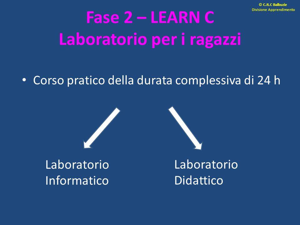 Fase 2 – LEARN C Laboratorio per i ragazzi Corso pratico della durata complessiva di 24 h Laboratorio Informatico Laboratorio Didattico © C.R.C Balbuz