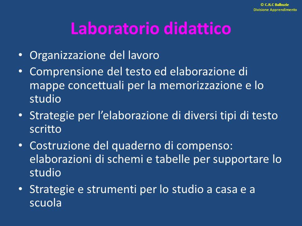 Laboratorio didattico Organizzazione del lavoro Comprensione del testo ed elaborazione di mappe concettuali per la memorizzazione e lo studio Strategi