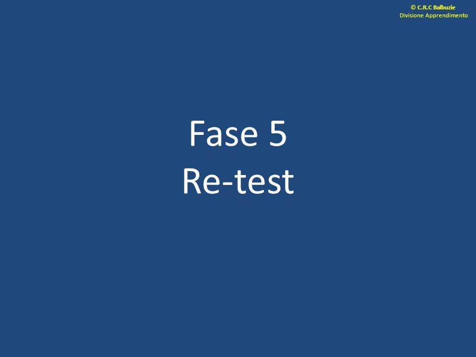 Fase 5 Re-test © C.R.C Balbuzie Divisione Apprendimento