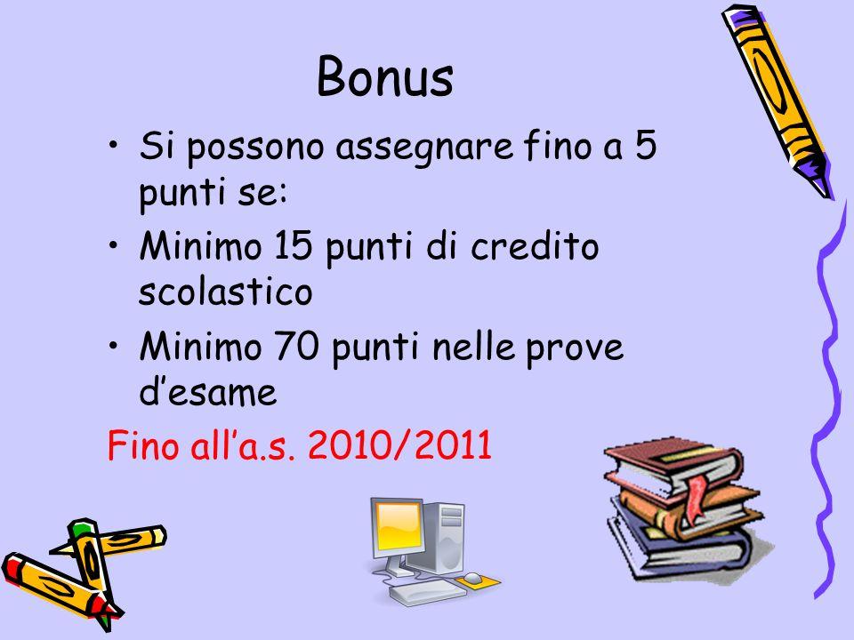 Bonus Si possono assegnare fino a 5 punti se: Minimo 15 punti di credito scolastico Minimo 70 punti nelle prove desame Fino alla.s. 2010/2011