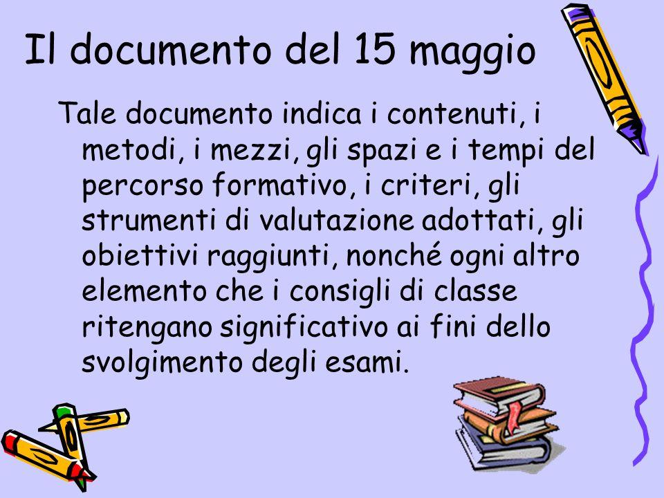 Il documento del 15 maggio Tale documento indica i contenuti, i metodi, i mezzi, gli spazi e i tempi del percorso formativo, i criteri, gli strumenti