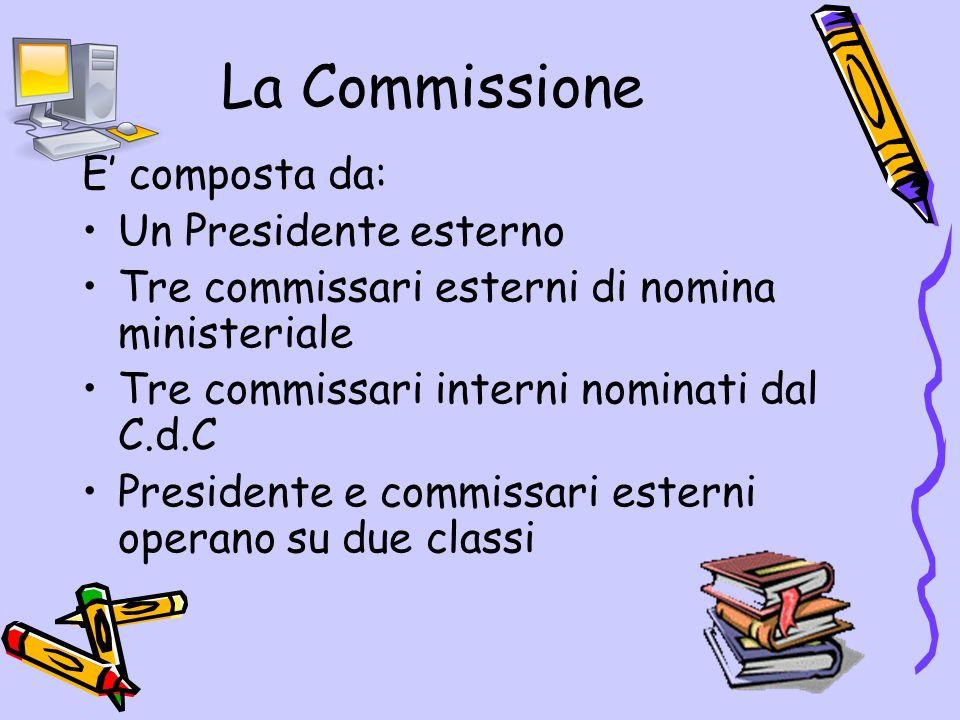 La Commissione E composta da: Un Presidente esterno Tre commissari esterni di nomina ministeriale Tre commissari interni nominati dal C.d.C Presidente