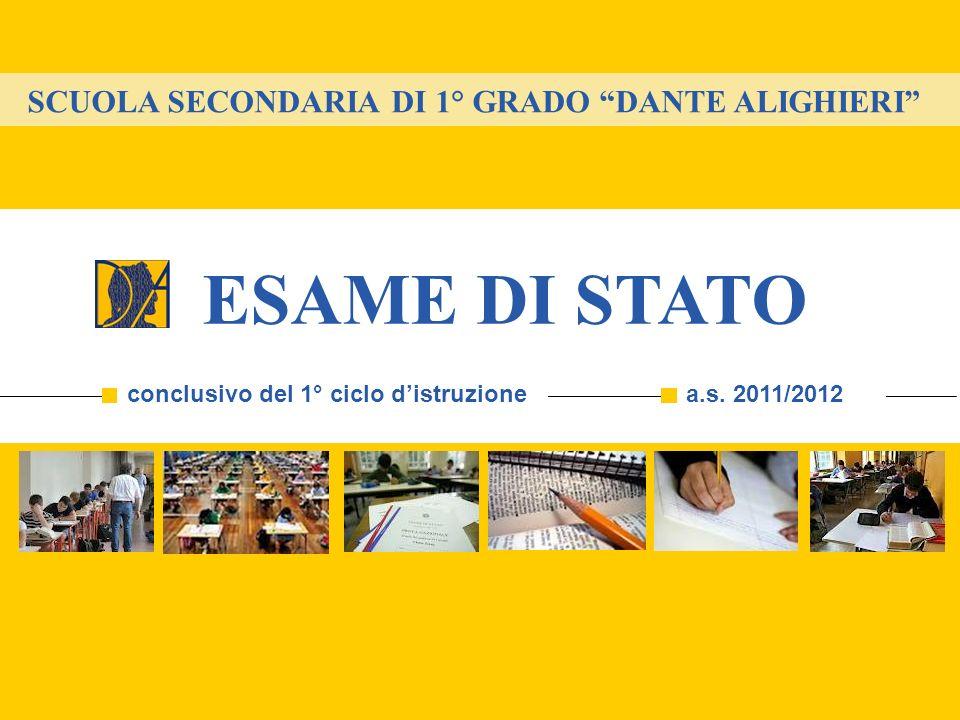SCUOLA SECONDARIA DI 1° GRADO DANTE ALIGHIERI ESAME DI STATO conclusivo del 1° ciclo distruzionea.s. 2011/2012