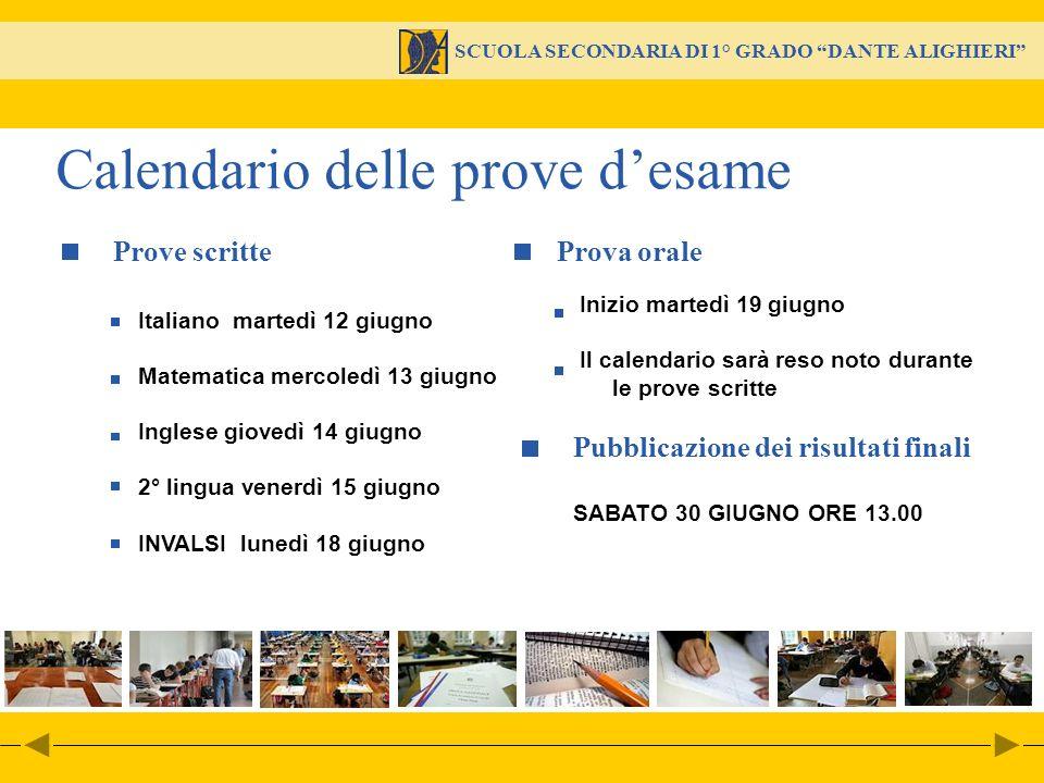 SCUOLA SECONDARIA DI 1° GRADO DANTE ALIGHIERI Italiano martedì 12 giugno Matematica mercoledì 13 giugno Inglese giovedì 14 giugno 2° lingua venerdì 15