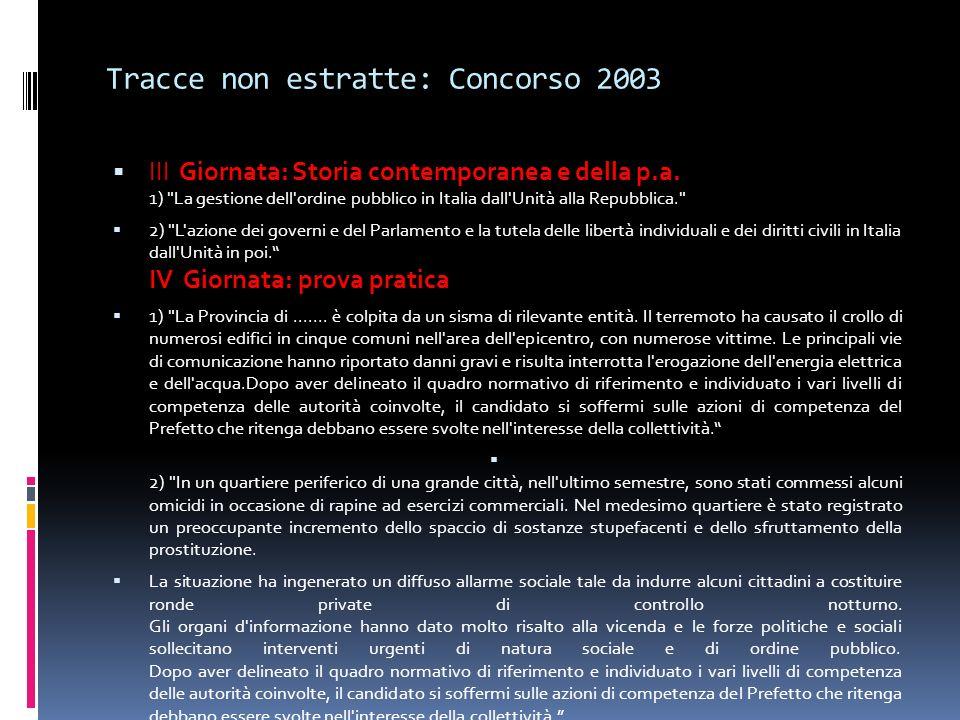 Tracce non estratte: Concorso 2003 III Giornata: Storia contemporanea e della p.a. 1)