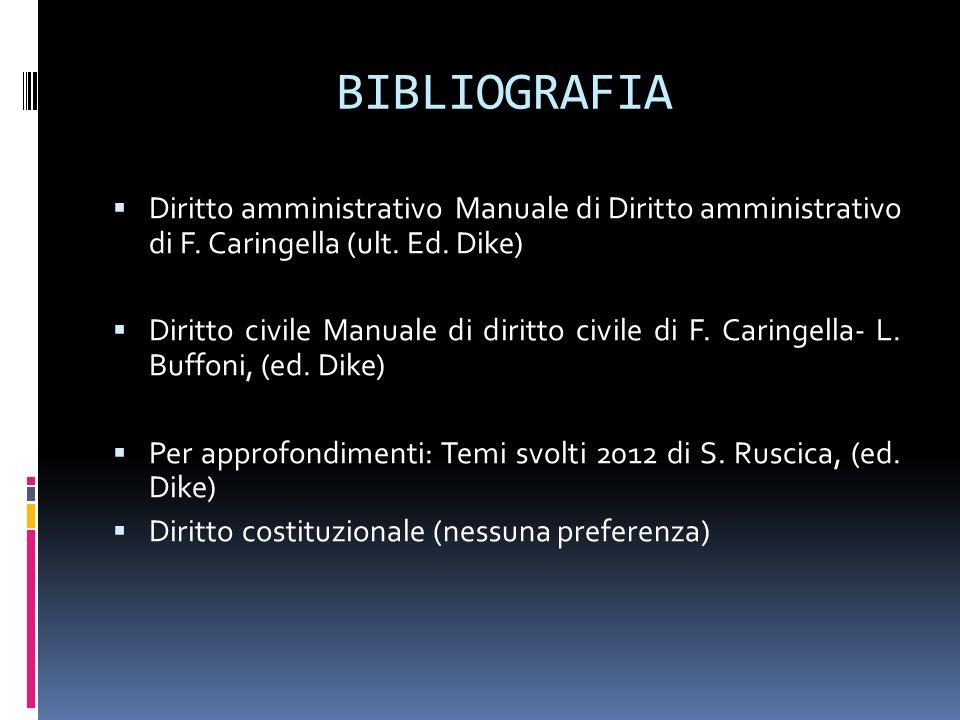 BIBLIOGRAFIA Diritto amministrativo Manuale di Diritto amministrativo di F. Caringella (ult. Ed. Dike) Diritto civile Manuale di diritto civile di F.
