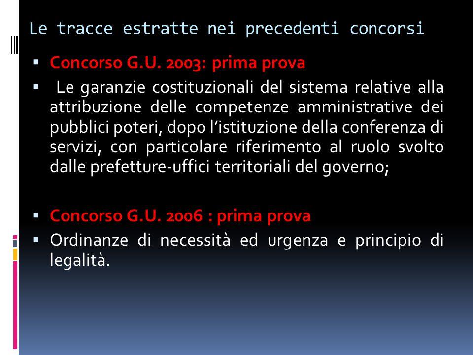 Le tracce estratte nei precedenti concorsi Concorso G.U. 2003: prima prova Le garanzie costituzionali del sistema relative alla attribuzione delle com